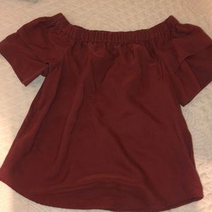 H&M off the shoulder maroon blouse